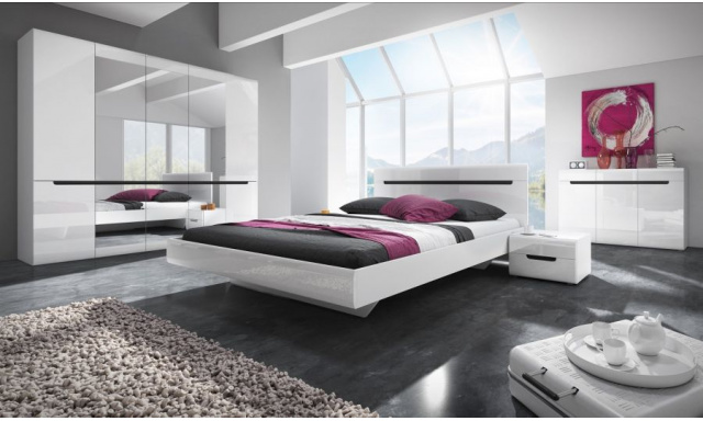 Ložnice Helios s postelí 180cm, bílá/bílý lesk