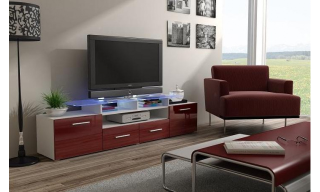 TV stolek Evora, bílá/bordo lesk
