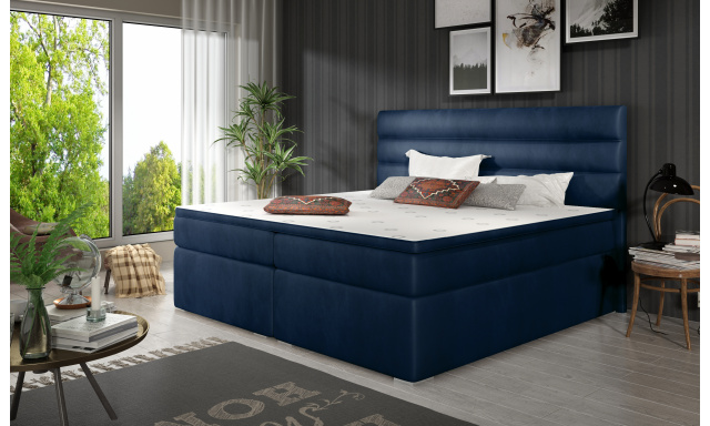 Elegantní box spring postel Sedina 180x200, modrá
