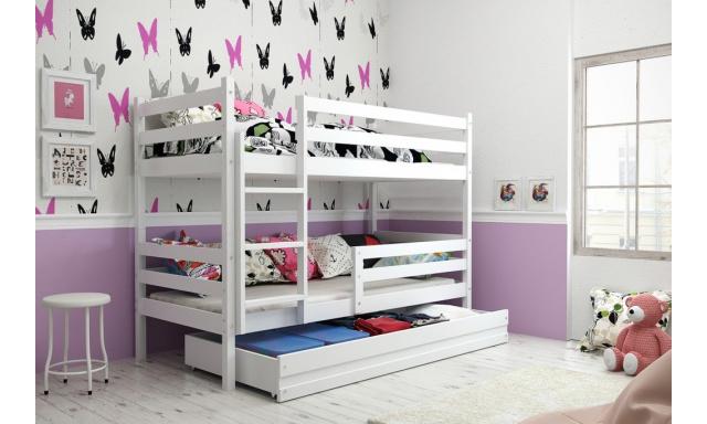 Patrová postel s úložným prostorem Euro, bílá, 160x80cm