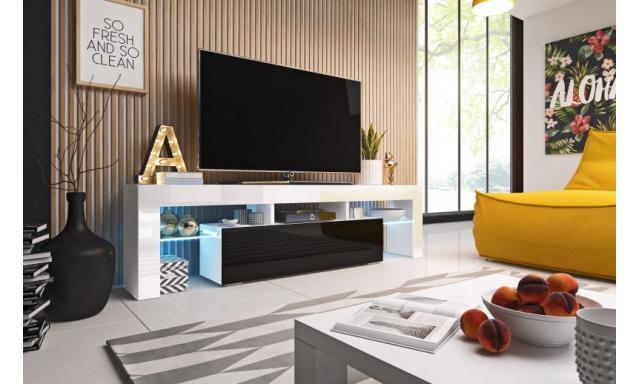 Moderní TV stolek Tropez 158cm, bílá/černý lesk