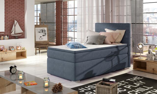 Moderní box spring postel Rimini 90x200, modrá