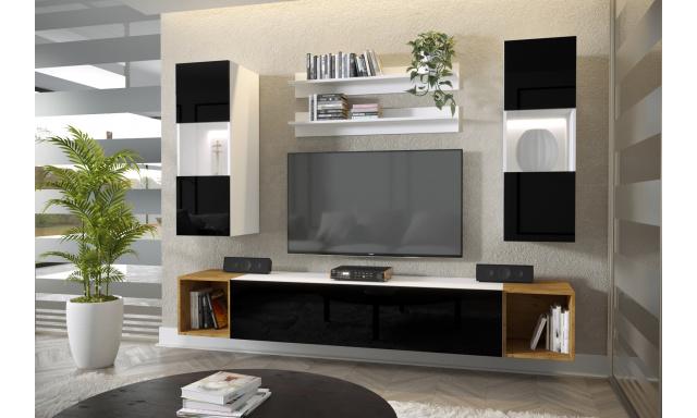 Moderní bytový nábytek Premio E, bílá/černý lesk