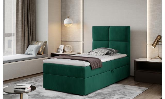 Moderní box spring postel Garda 90x200, zelená Monolith