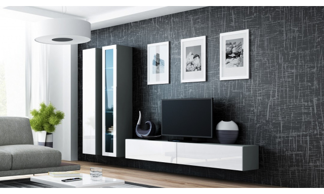 Obývací stěna Igore L, šedá/bílý lesk