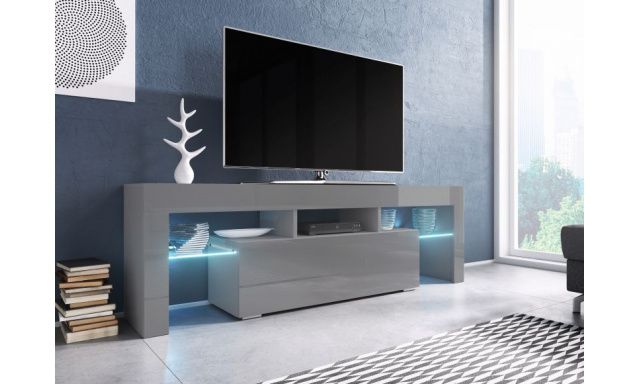 Moderní TV stolek Targa 138cm, šedá/šedý lesk
