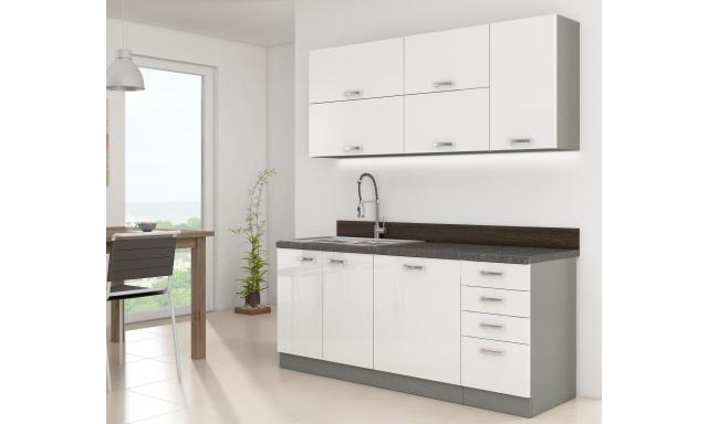 Luxusní kuchyně Blanka 180cm, bílý lesk
