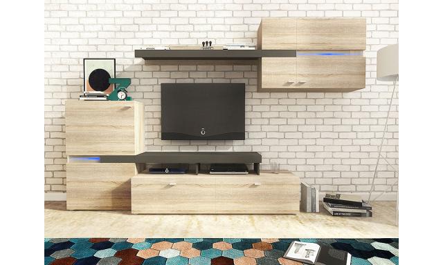 Moderní obývací stěna Jeta, sonoma/grafit