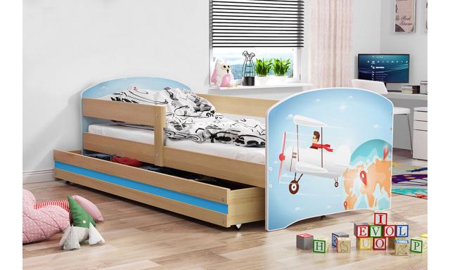 Detská posteľ Lucca, borovica + vzor lietadlo, 160x80cm