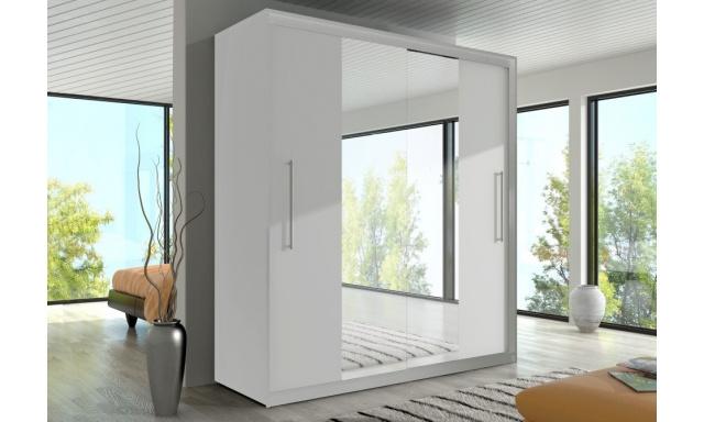Ložnicová skřín Rino, bílá/bílá/zrcadlo