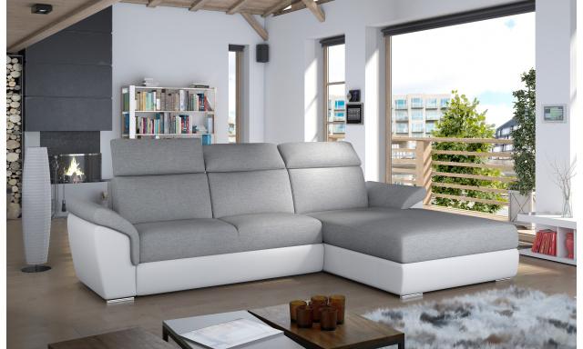 Moderní rohová sedačka Trango, bílá/šedá