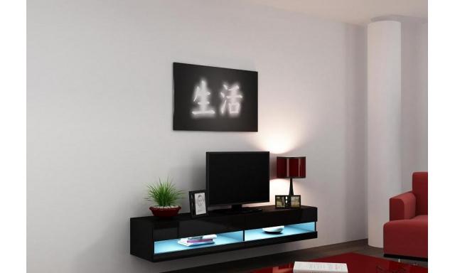 Moderní TV stolek Igore new, černá/černý lesk