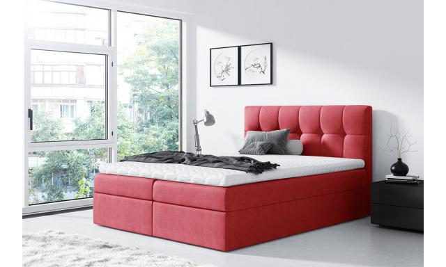 Moderní box spring postel Rapid 160x200, červená