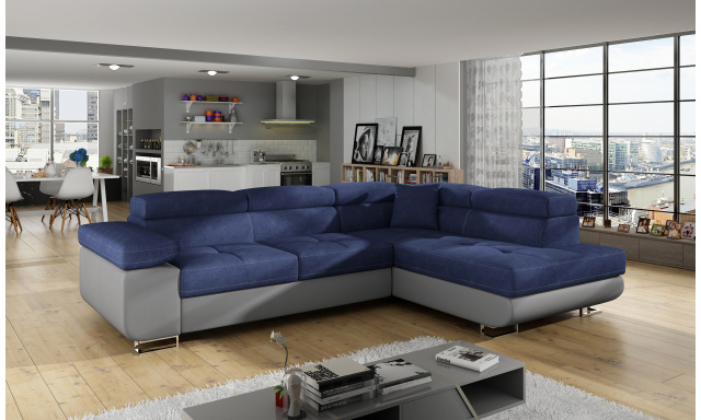 Moderní rohová sedačka Astra, šedá/modrá