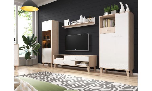 Moderní bytový nábytek Severin, sonoma/bílý lesk
