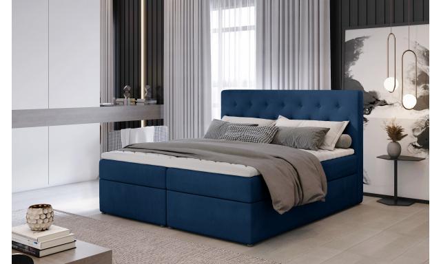 Kvalitní box spring postel Lapito 180x200, modrá Monolith