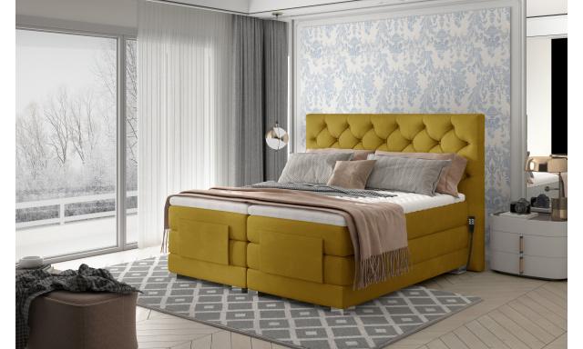 Box spring postel Clif 180x200, žlutá, elektrické polohování