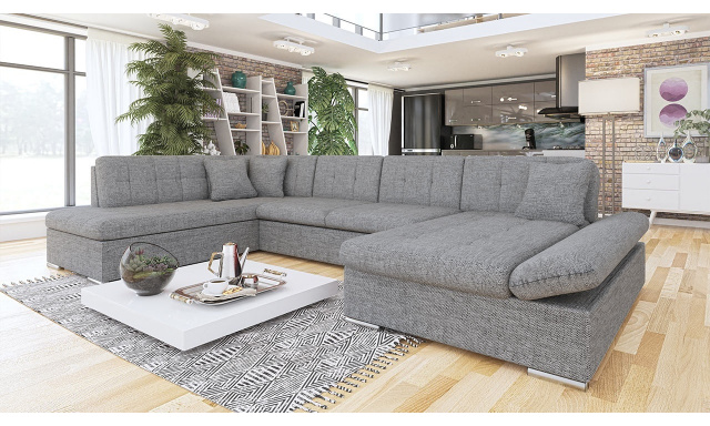 Luxusní sedačka ve tvaru U Bravo, šedá