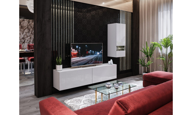 Moderní obývací stěna Bonny 15, bílá/bílý lesk