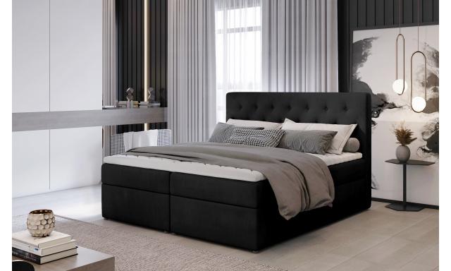 Kvalitní box spring postel Lapito 180x200, černá Monolith
