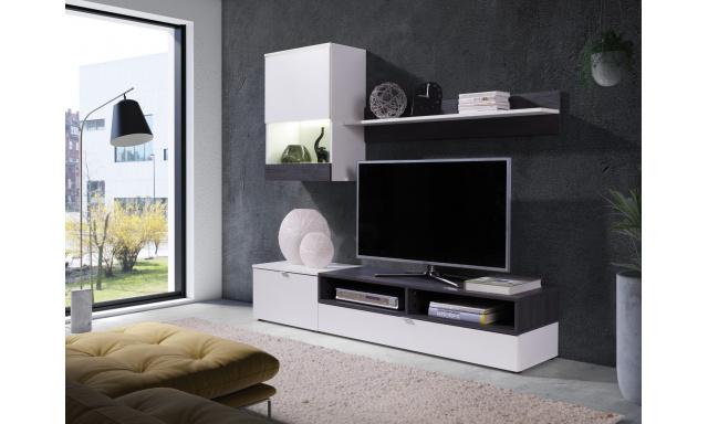 Moderní obývací stěna Roman, bílá/borovice tmavá