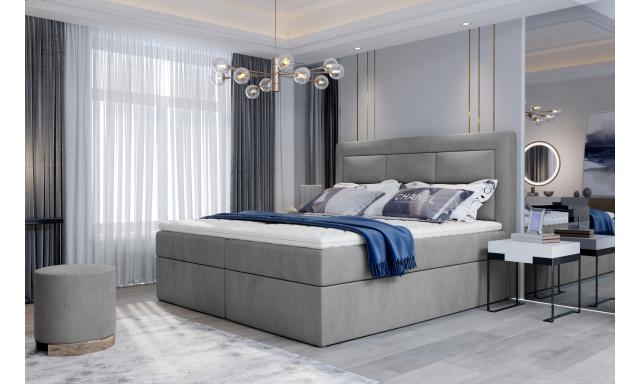 Kvalitní box spring postel Vanity 180x200, šedá Monolith