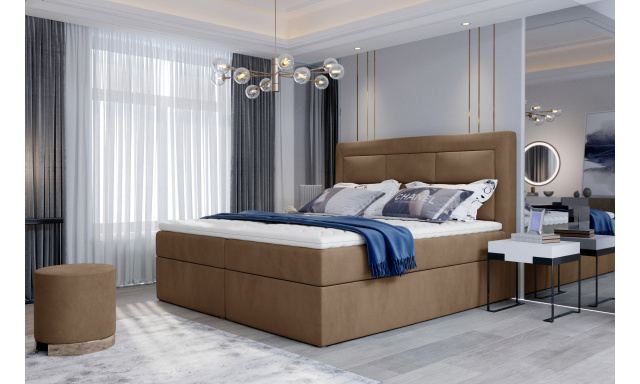 Kvalitní box spring postel Vanity 180x200, hnědá Monolith