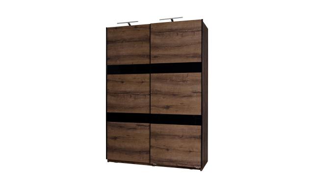 Šatní skřín Drake SZ150, dub monastery/černý lesk