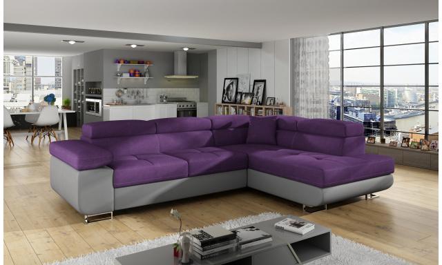 Moderní rohová sedačka Astra, šedá/fialová