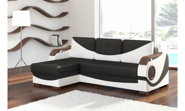 Stylová rohová sedačka Portos, bílá/černá
