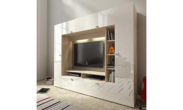 Moderní TV stěna Viera, sonoma/bílý lesk + LED osvětlení