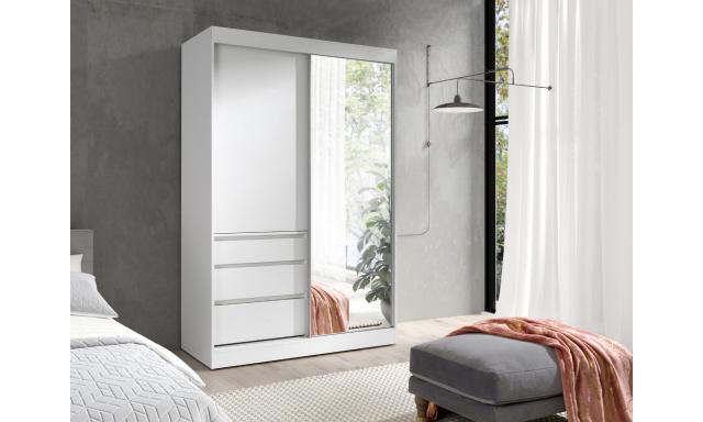 Šatní skřín Hermína 140cm se zrcadlem, bílá