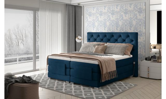 Box spring postel Clif 180x200, modrá, elektrické polohování