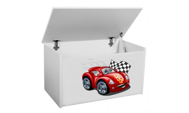 Box na hračky Denia, bílý + autíčko