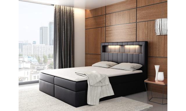 Kontinentální postel Areto 180x200, černá + LED