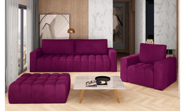 Sedačková sestava Lenzer, 3+1+taburet, fialová