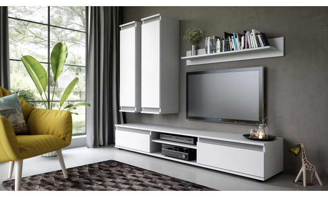 Moderní obývací stěna Hack, bílá/grafit