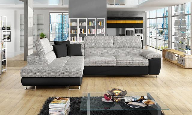 Luxusní sedací souprava Cinnamon, černá/šedá