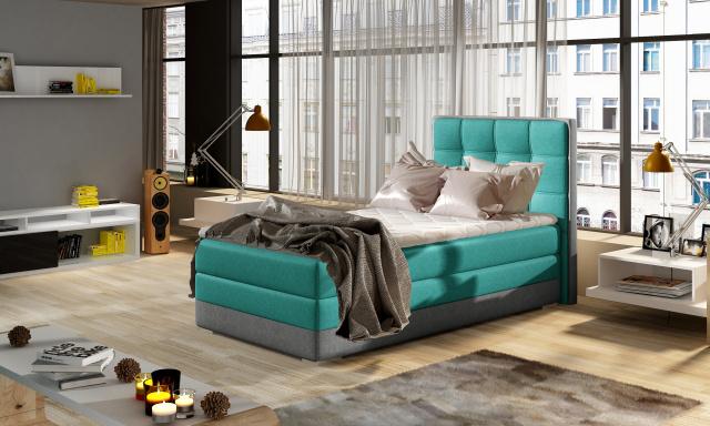 Moderní box spring postel Adria 90x200, zelená