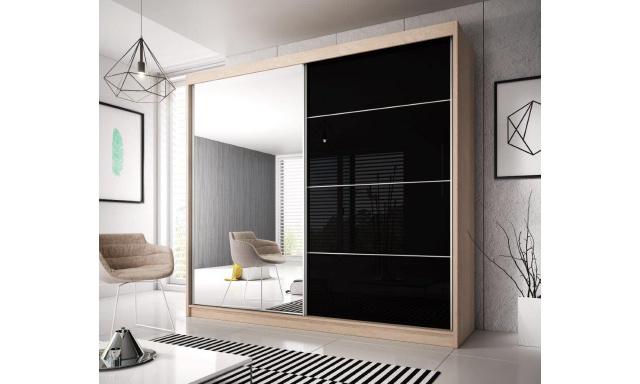 Šatní skřín Malta 31, sonoma/černý lesk 183cm
