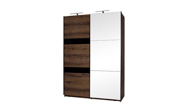 Šatní skřín Drake SZ150 + zrcadlo, dub monatery/černý lesk