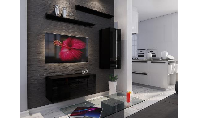 Moderní obývací stěna Bonny 11, černá/černý lesk