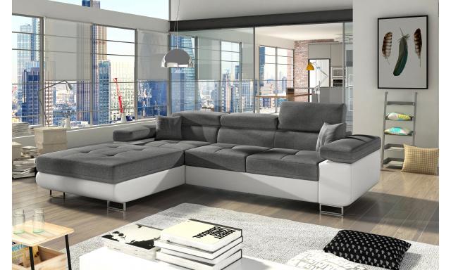 Moderní rohová sedačka Alcudia, bílá/šedá
