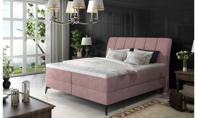 Elegantní box spring postel Ariana 180x200, růžová