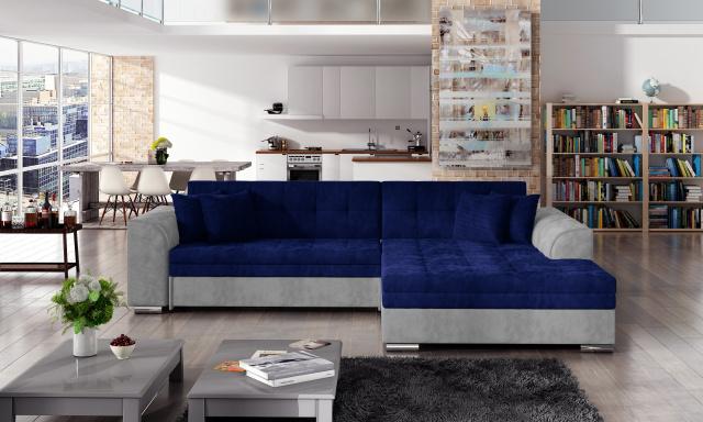 Moderní rohová sedačka Santos, šedá/modrá