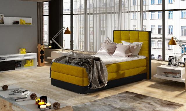 Moderní box spring postel Adria 90x200, žlutá