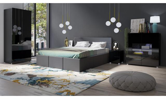 Moderní postel z eko-kůže Celeste, šedá