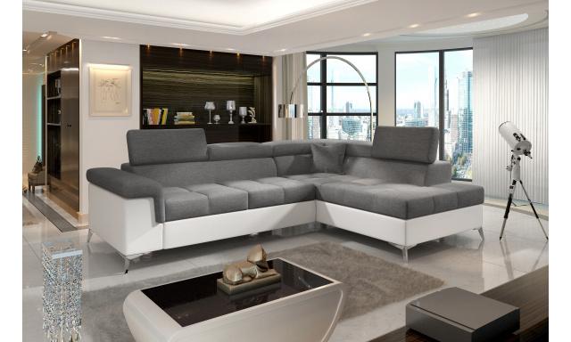 Moderní rohová sedačka Colnago, bílá/šedá