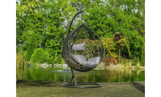 Zahradní závěsné křeslo Samanta, šedé + šedá látka