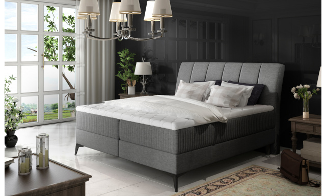 Elegantní box spring postel Ariana 180x200, šedá